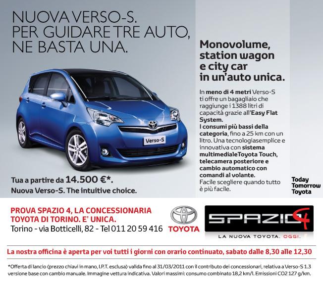 Nuova Toyota Verso-S offerta lancio