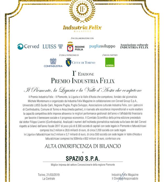 Premio Industria Felix Spazio S.p.a