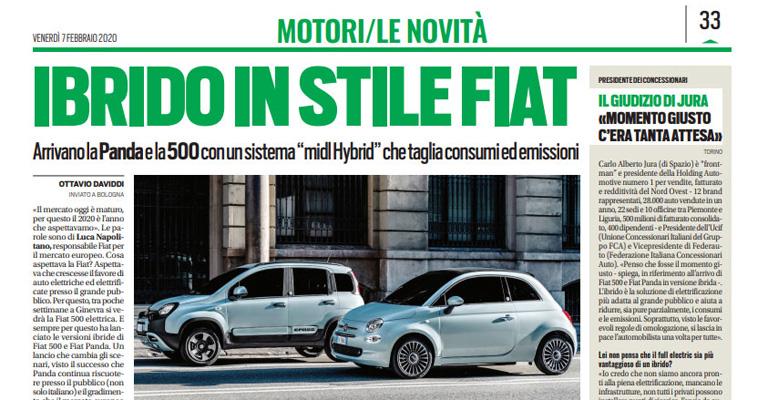"""La nuova motorizzazione FIAT """"mild hybrid"""" che taglia le emissioni. Tuttosport intervista Carlo Alberto Jura, Presidente Spazio Group"""