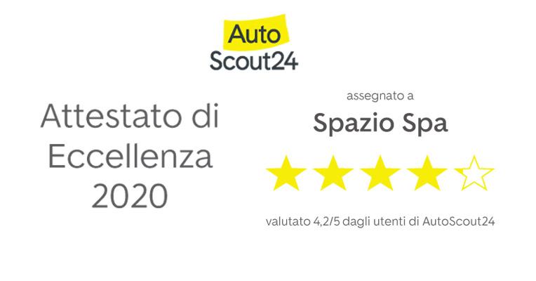 Spazio riceve l'Attestato di Eccellenza 2020 da Autoscout24